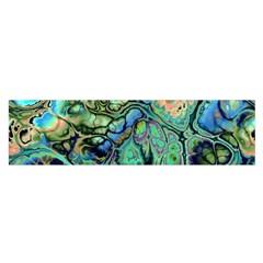 Fractal Batik Art Teal Turquoise Salmon Satin Scarf (oblong) by EDDArt