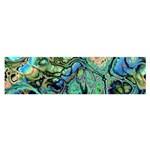 Fractal Batik Art Teal Turquoise Salmon Satin Scarf (Oblong)