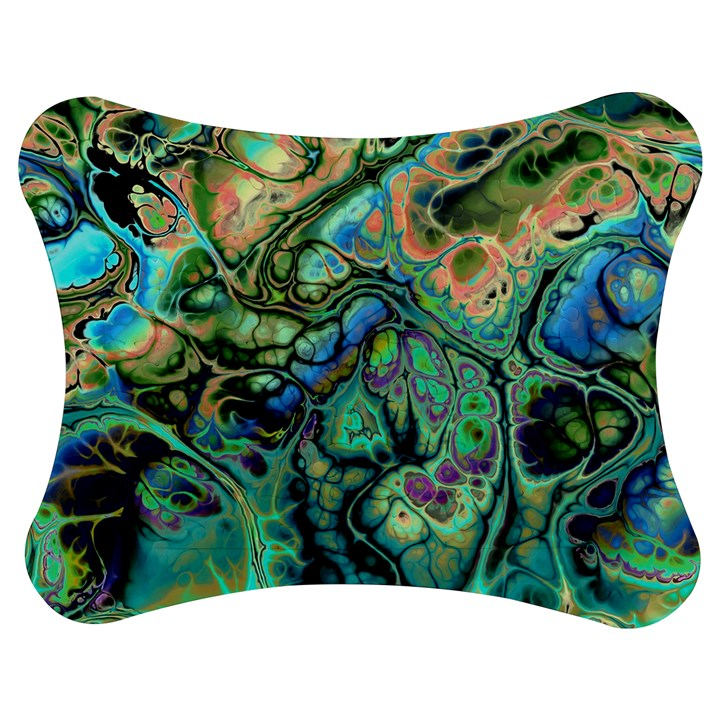 Fractal Batik Art Teal Turquoise Salmon Jigsaw Puzzle Photo Stand (Bow)
