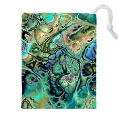 Fractal Batik Art Teal Turquoise Salmon Drawstring Pouches (xxl) by EDDArt