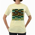 Block On Block, Aqua Women s Yellow T-Shirt Front