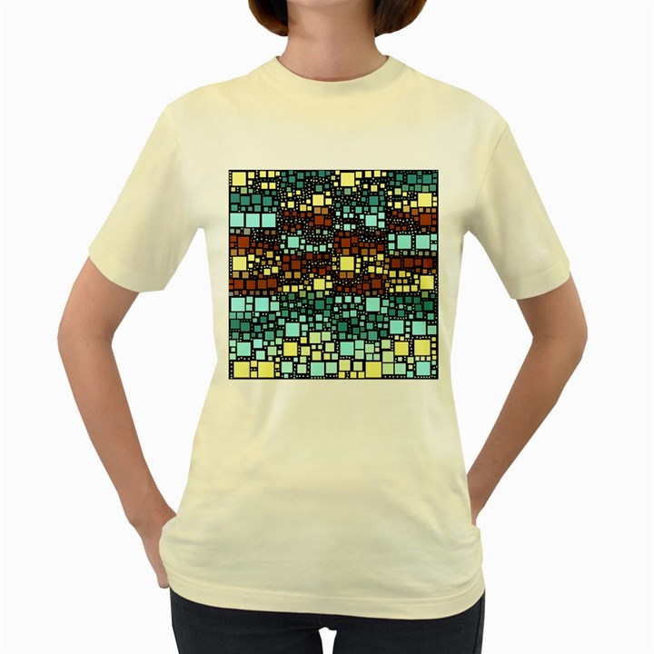 Block On Block, Aqua Women s Yellow T-Shirt