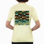 Block On Block, Aqua Women s Yellow T-Shirt Back