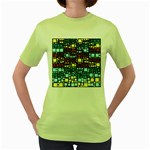 Block On Block, Aqua Women s Green T-Shirt Front