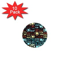 Block On Block, Aqua 1  Mini Magnet (10 Pack)