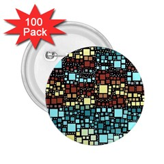 Block On Block, Aqua 2 25  Buttons (100 Pack)
