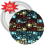 Block On Block, Aqua 3  Buttons (100 pack)  Front