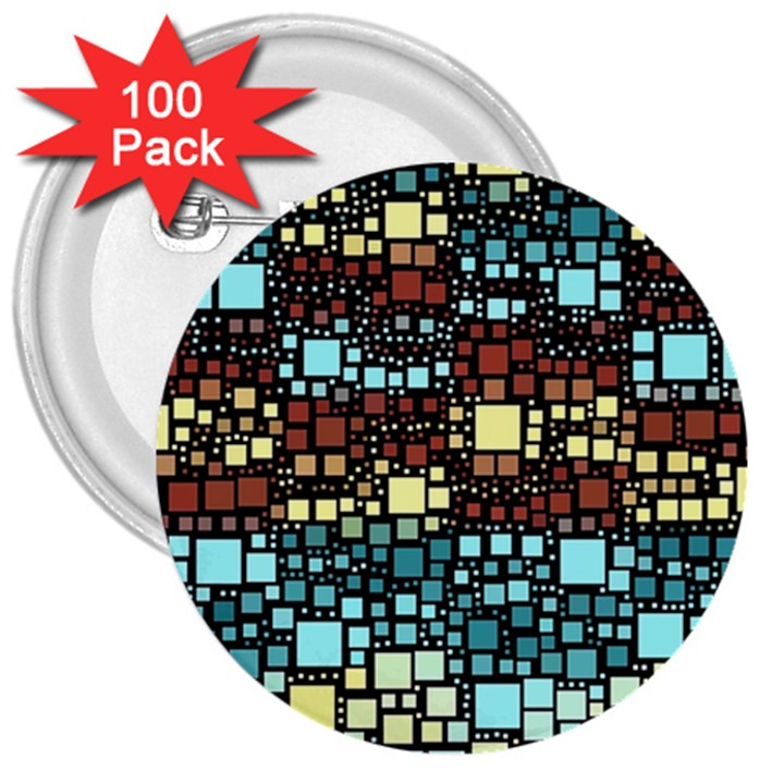 Block On Block, Aqua 3  Buttons (100 pack)