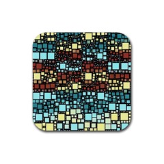 Block On Block, Aqua Rubber Square Coaster (4 Pack)  by MoreColorsinLife