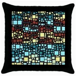 Block On Block, Aqua Throw Pillow Case (Black) Front