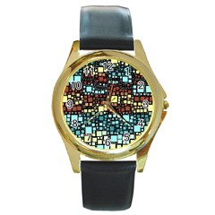 Block On Block, Aqua Round Gold Metal Watch by MoreColorsinLife