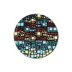 Block On Block, Aqua Rubber Coaster (round)  by MoreColorsinLife
