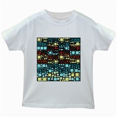 Block On Block, Aqua Kids White T Shirts