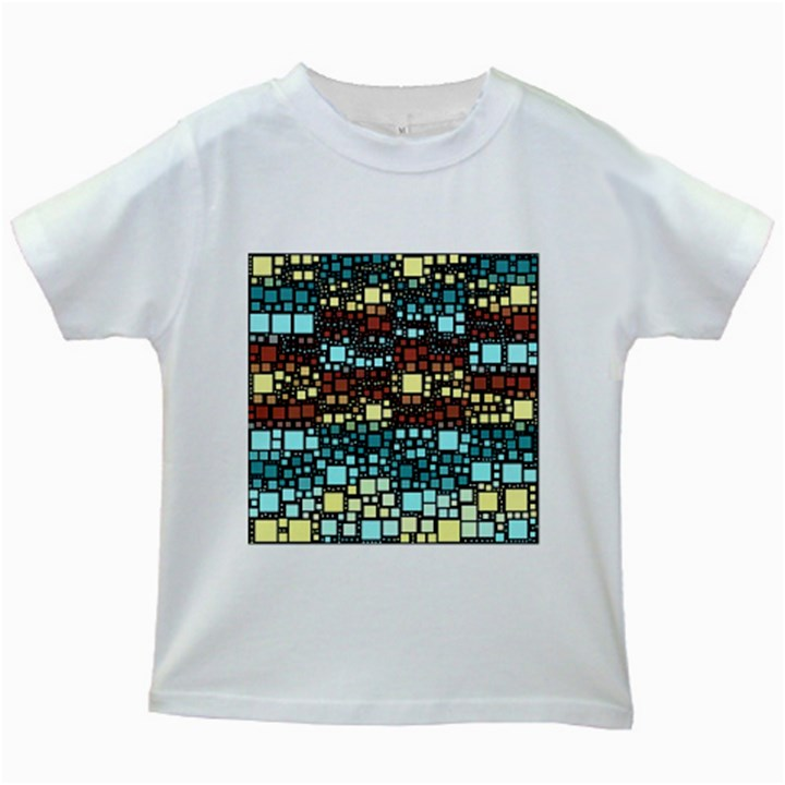 Block On Block, Aqua Kids White T-Shirts