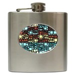 Block On Block, Aqua Hip Flask (6 oz) Front