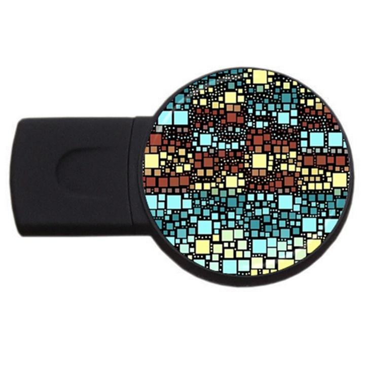 Block On Block, Aqua USB Flash Drive Round (2 GB)