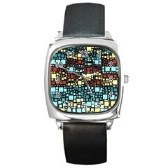 Block On Block, Aqua Square Metal Watch by MoreColorsinLife