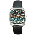Block On Block, Aqua Square Metal Watch Front