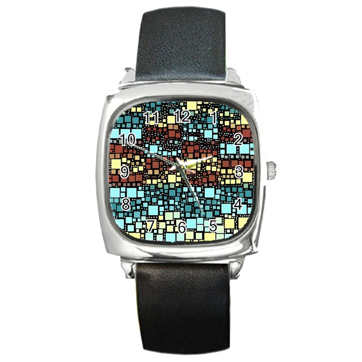 Block On Block, Aqua Square Metal Watch