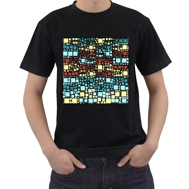 Block On Block, Aqua Men s T-Shirt (Black) (Two Sided)