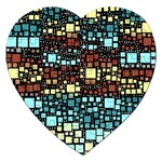 Block On Block, Aqua Jigsaw Puzzle (Heart) Front
