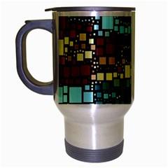 Block On Block, Aqua Travel Mug (silver Gray) by MoreColorsinLife
