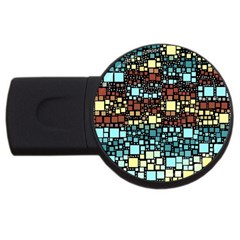 Block On Block, Aqua Usb Flash Drive Round (4 Gb)  by MoreColorsinLife