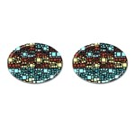 Block On Block, Aqua Cufflinks (Oval) Front