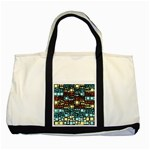 Block On Block, Aqua Two Tone Tote Bag Front