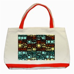 Block On Block, Aqua Classic Tote Bag (red)