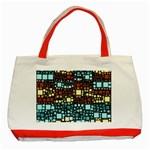 Block On Block, Aqua Classic Tote Bag (Red) Front