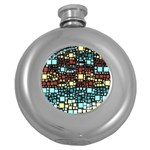 Block On Block, Aqua Round Hip Flask (5 oz) Front