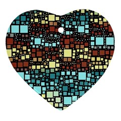 Block On Block, Aqua Heart Ornament (2 Sides)