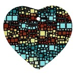 Block On Block, Aqua Heart Ornament (2 Sides) Back