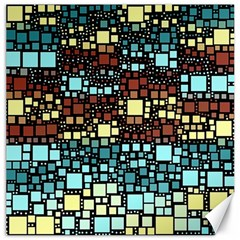 Block On Block, Aqua Canvas 20  X 20   by MoreColorsinLife