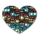 Block On Block, Aqua Heart Mousepads Front