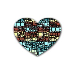 Block On Block, Aqua Heart Coaster (4 pack)