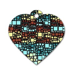 Block On Block, Aqua Dog Tag Heart (one Side) by MoreColorsinLife