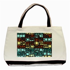 Block On Block, Aqua Basic Tote Bag (two Sides) by MoreColorsinLife