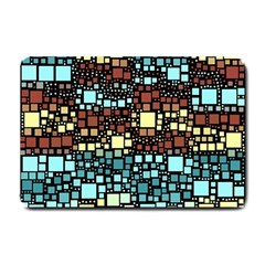 Block On Block, Aqua Small Doormat  by MoreColorsinLife
