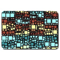 Block On Block, Aqua Large Doormat  by MoreColorsinLife