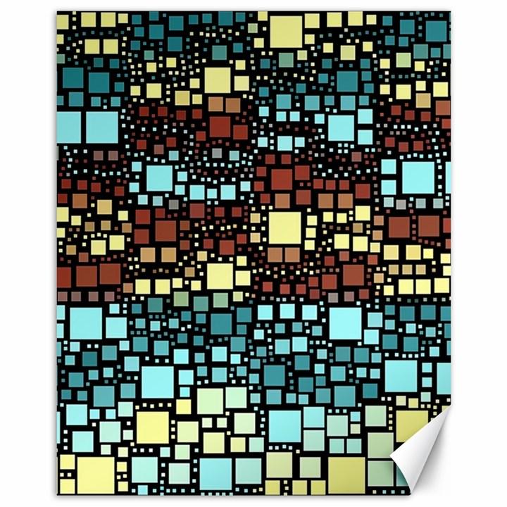 Block On Block, Aqua Canvas 11  x 14
