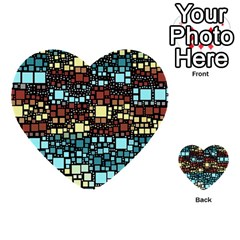 Block On Block, Aqua Multi-purpose Cards (Heart)
