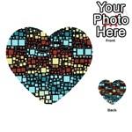 Block On Block, Aqua Multi-purpose Cards (Heart)  Back 17