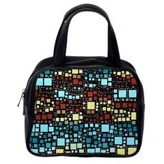Block On Block, Aqua Classic Handbags (one Side)