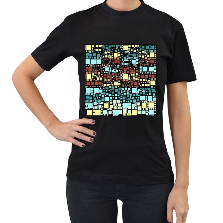 Block On Block, Aqua Women s T-Shirt (Black)