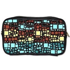 Block On Block, Aqua Toiletries Bags 2 Side by MoreColorsinLife