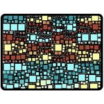 Block On Block, Aqua Fleece Blanket (Large)  80 x60 Blanket Front