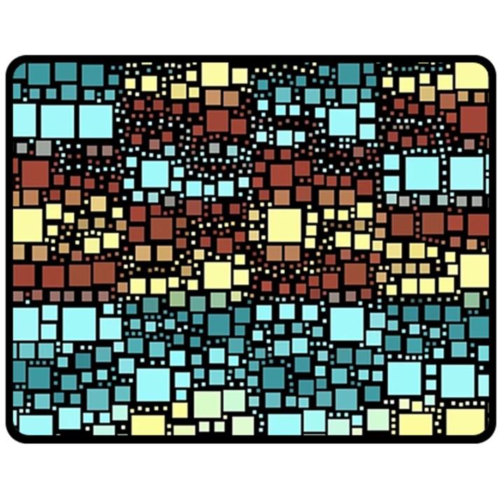 Block On Block, Aqua Fleece Blanket (Medium)