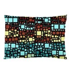 Block On Block, Aqua Pillow Case (Two Sides) Back